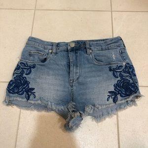 Aqua jean shorts